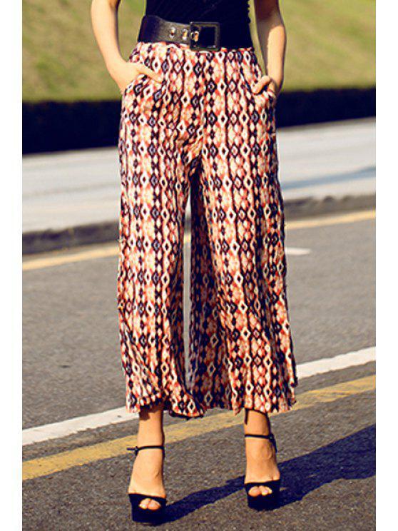 online Print Wide Leg Chiffon Pants - PINK S