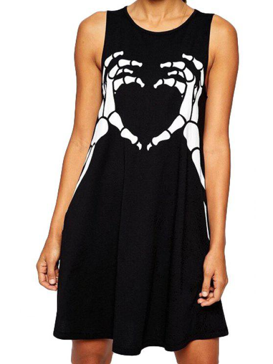 hot Talon Print Sleeveless Dress - BLACK S
