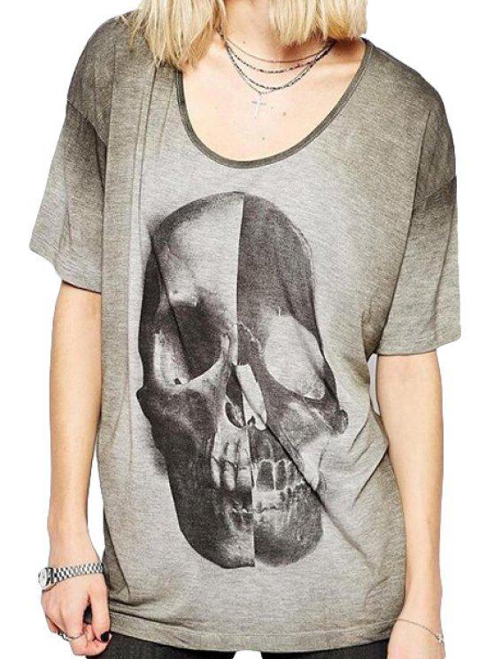 sale Color Block Skull Print Short Sleeve T-Shirt - GRAY S