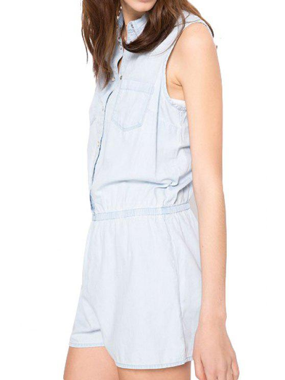 buy Bleach Wash Elastic Waist Denim Romper - LIGHT BLUE S