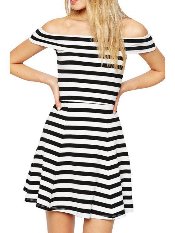women's Stripe Slash Neck A-Line Dress - STRIPE S