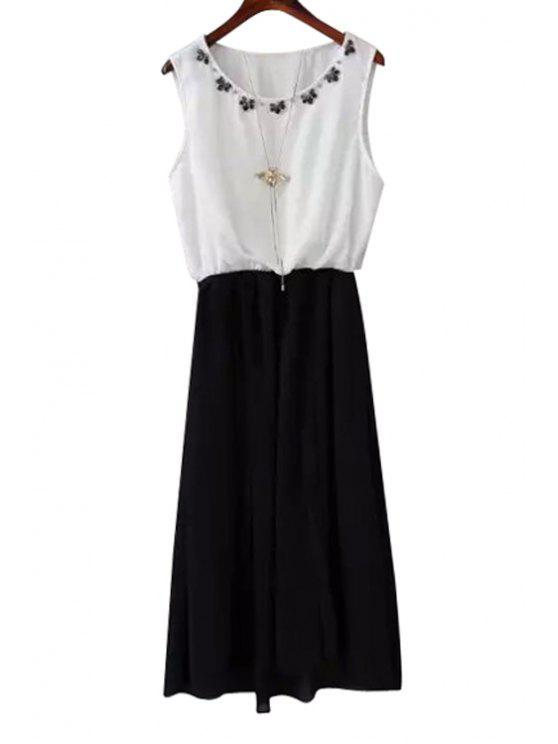 shop Artificial Gem Color Block Sleeveless Dress - CADETBLUE S