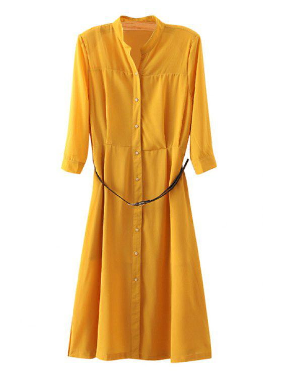 shop Solid Color Single-Breasted 3/4 Sleeve Dress - YELLOW S