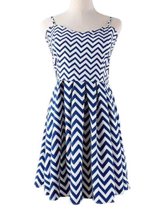 sale Spaghetti Strap Zig Zag Sleeveless Dress - BLUE S