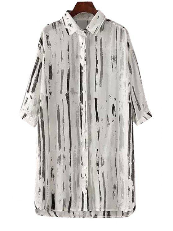 women Ink Stripe Print Half Sleeve Shirt - WHITE M