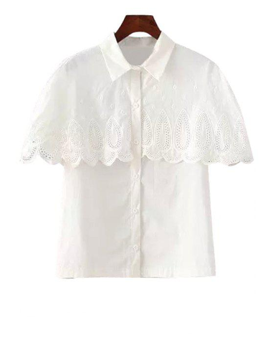 best Solid Color Splicing Short Sleeve Shirt - WHITE ONE SIZE(FIT SIZE XS TO M)