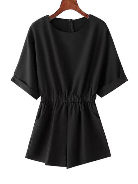 buy Solid Color Elastic Waist Short Sleeve Romper - BLACK ONE SIZE(FIT SIZE XS TO M)