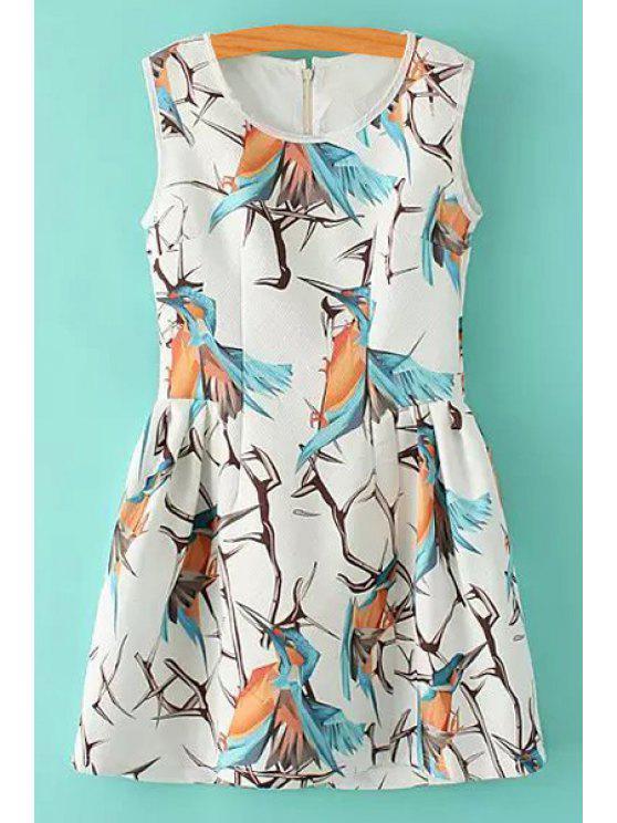 fashion Colorful Bird Print Sleeveless Dress - WHITE S