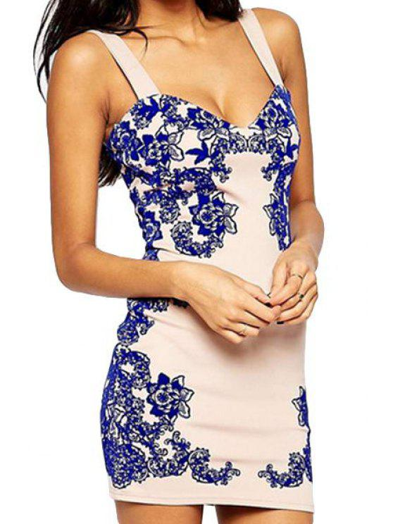 buy Blue Floral Sleeveless Bodycon Dress - BLUE AND WHITE M