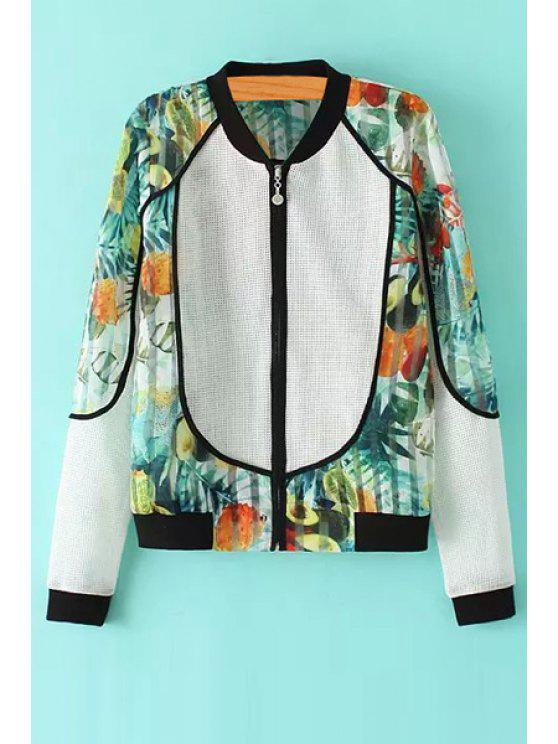 outfits Openwork Floral Print Splicing Long Sleeve Coat - COLORMIX S