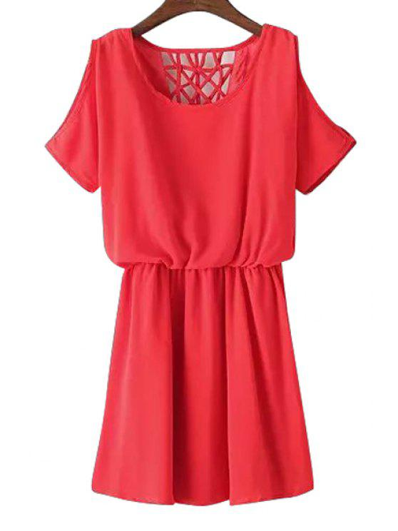 outfit Off-The-Shoulder Hollow Chiffon Dress - RED ONE SIZE(FIT SIZE XS TO M)