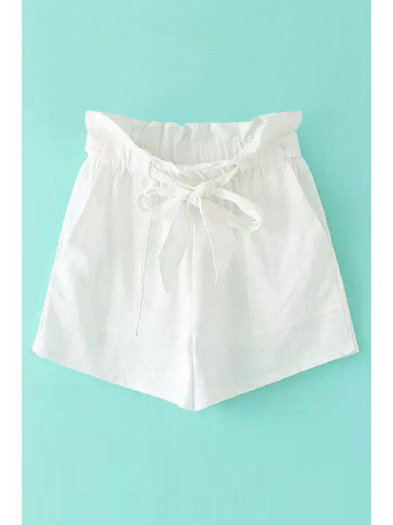 shops Solid Color Tie-Up Ruffle Shorts - WHITE S