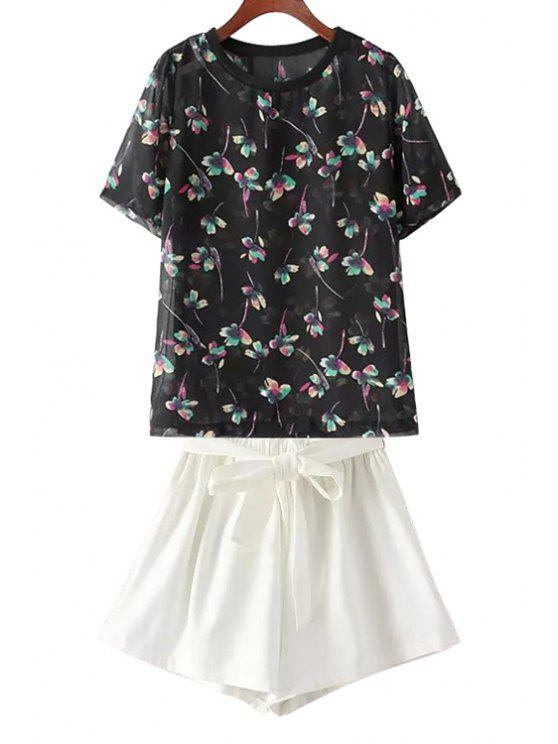 fancy Floral T-Shirt and White Wide Leg Shorts Suit - WHITE AND BLACK ONE SIZE(FIT SIZE XS TO M)