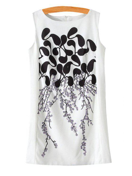 shop Plum Blossom Print Color Block Sleeveless Dress - WHITE S