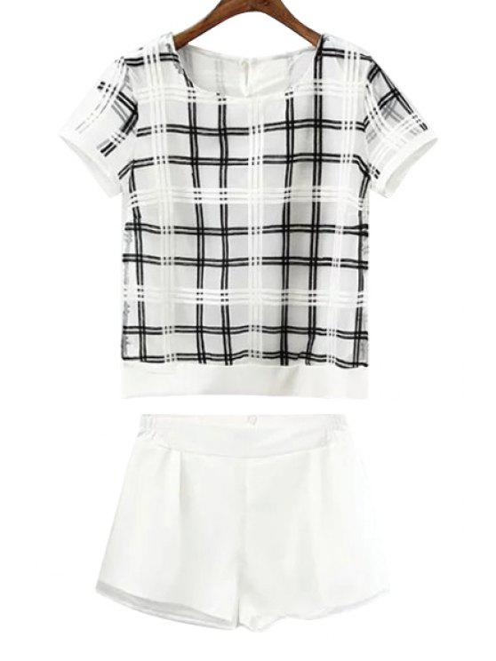 sale Checked Short Sleeve T-Shirt and White Shorts Suit - WHITE S