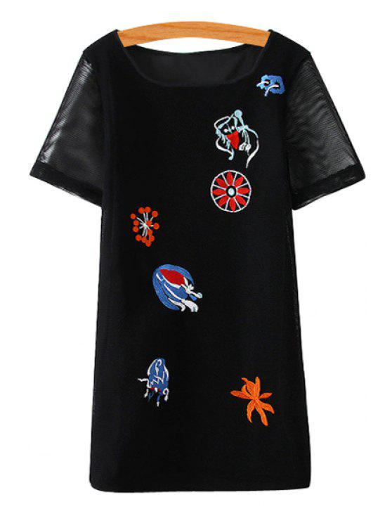 women Embroidery Openwork Short Sleeve Dress - BLACK S