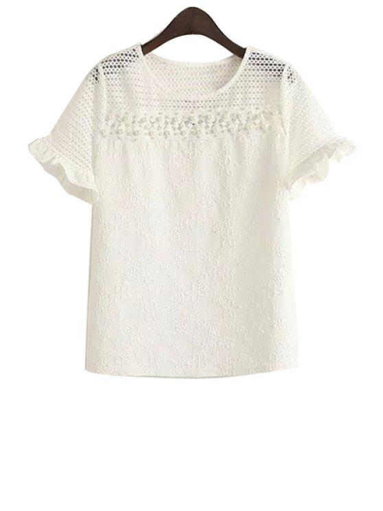 affordable Hollow Beaded Short Sleeve T-Shirt - WHITE ONE SIZE(FIT SIZE XS TO M)