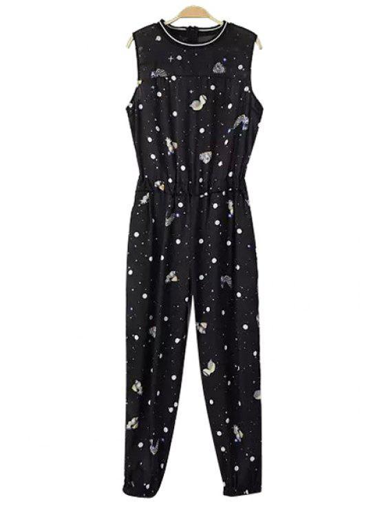 trendy Polka Dot Print Sleeveless Jumpsuit - BLACK S