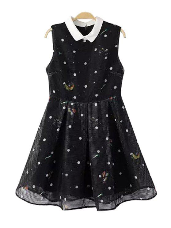 outfits Polka Dot Turn-Down Collar Sleeveless Dress - BLACK S