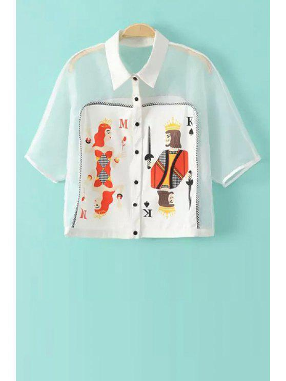 women Poker Print Spliced Short Sleeve Shirt - WHITE S