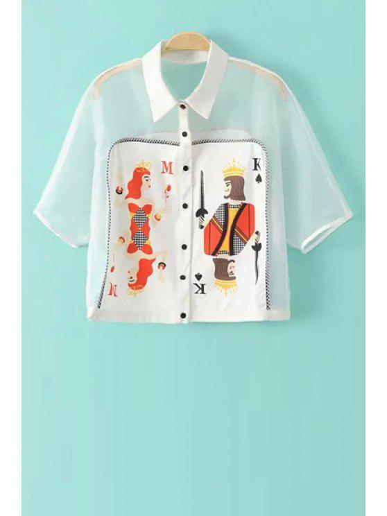 women Poker Print Spliced Short Sleeve Shirt - WHITE S