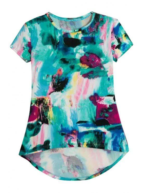 fancy Print High-Low Hem Short Sleeve T-Shirt - GREEN M