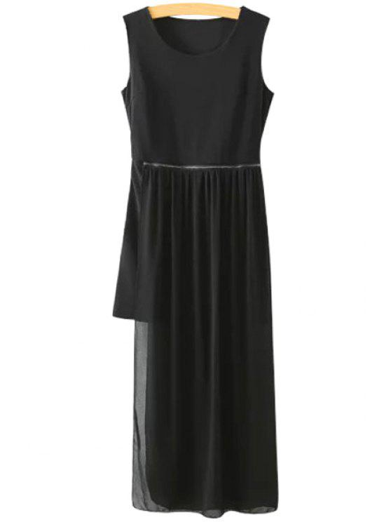 trendy Solid Color Splicing Sleeveless Dress - BLACK S
