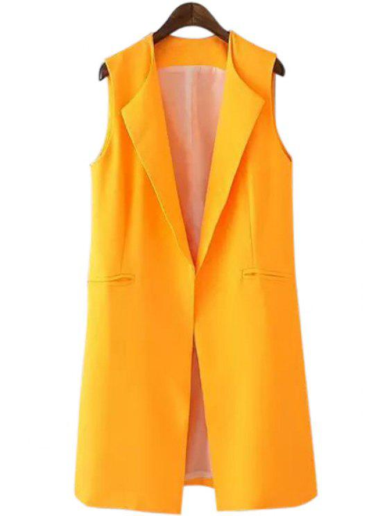 outfits Turn-Down Collar Yellow Sleeveless Waistcoat - YELLOW L