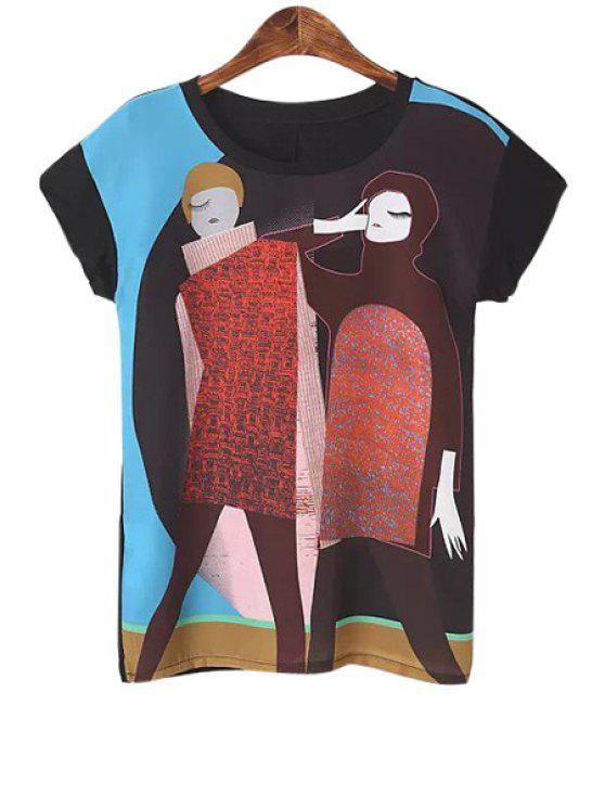fancy Color Block Two Girls Print T-Shirt - BLACK M