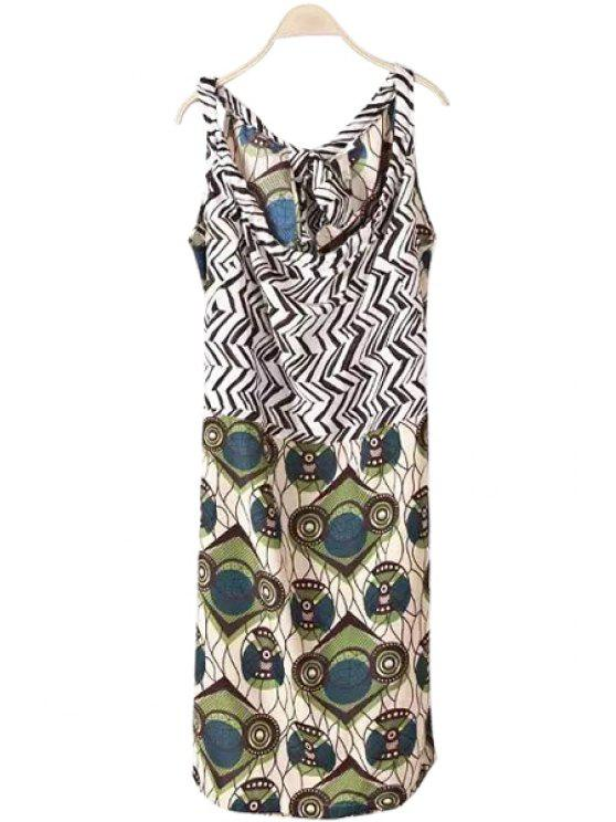 fancy Zig Zag Print Tie-Up Sleeveless Dress - COLORMIX S