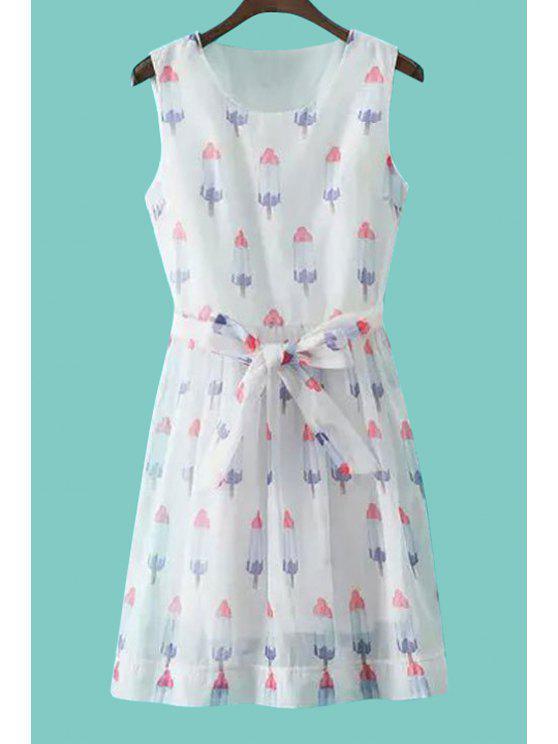 womens Ice-Cream Print with Belt Sundress - WHITE S