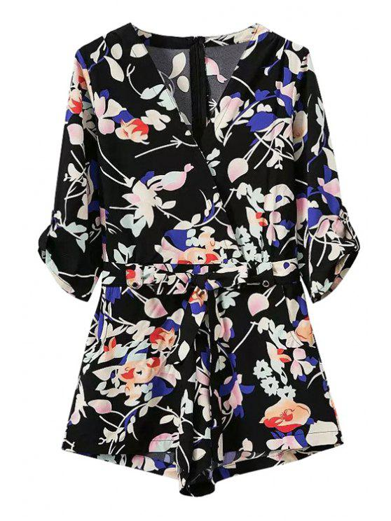outfits Floral V-Neck Half Sleeve Romper - BLACK S