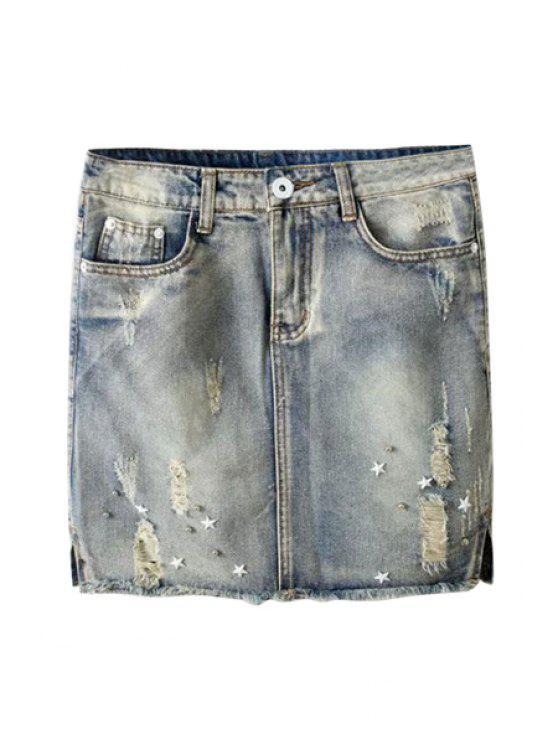 buy Vintage Frayed Denim Skirt - SMOKY GRAY L