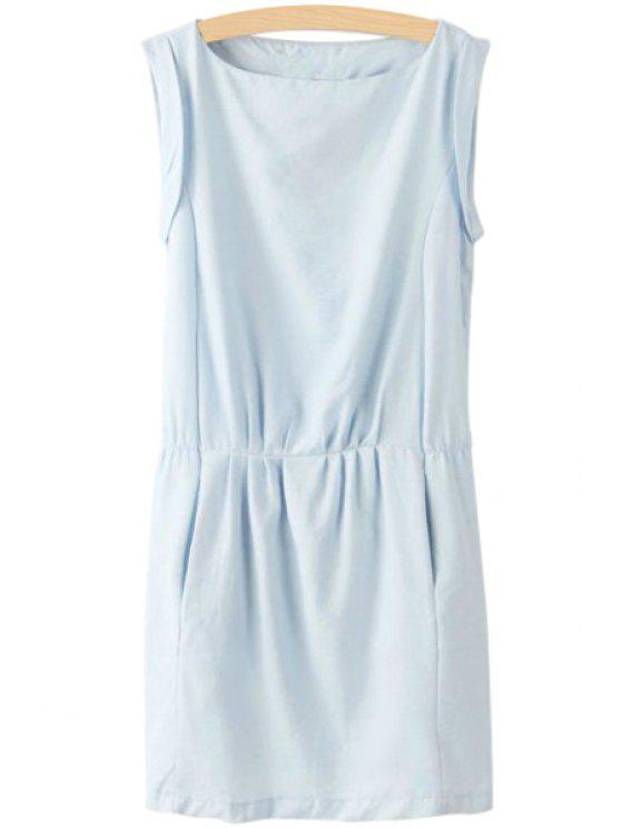 hot Ruffle Solid Color Dress - LIGHT BLUE S
