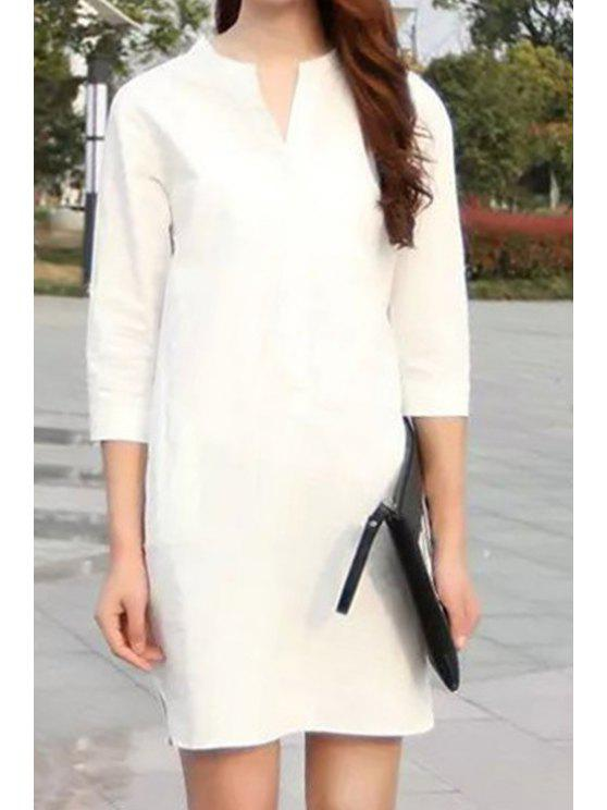 outfit White Stand Neck 3/4 Sleeve Dress - WHITE S