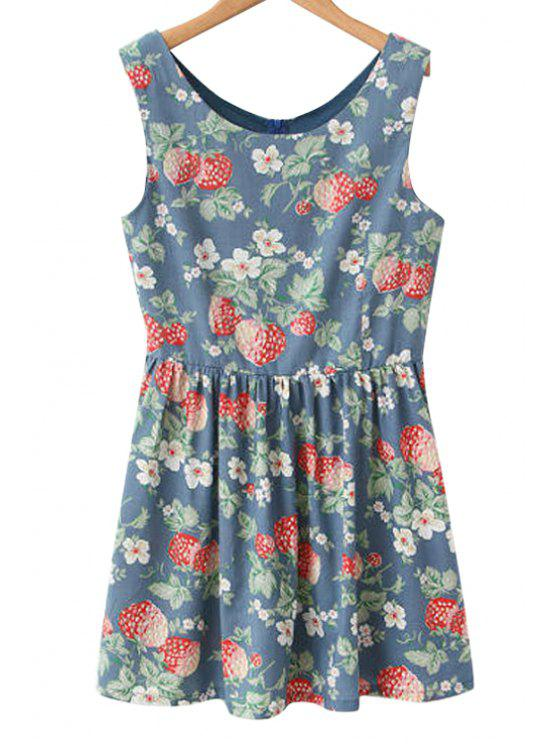 ladies Sleeveless Strawberry Print Sundress - CADETBLUE S