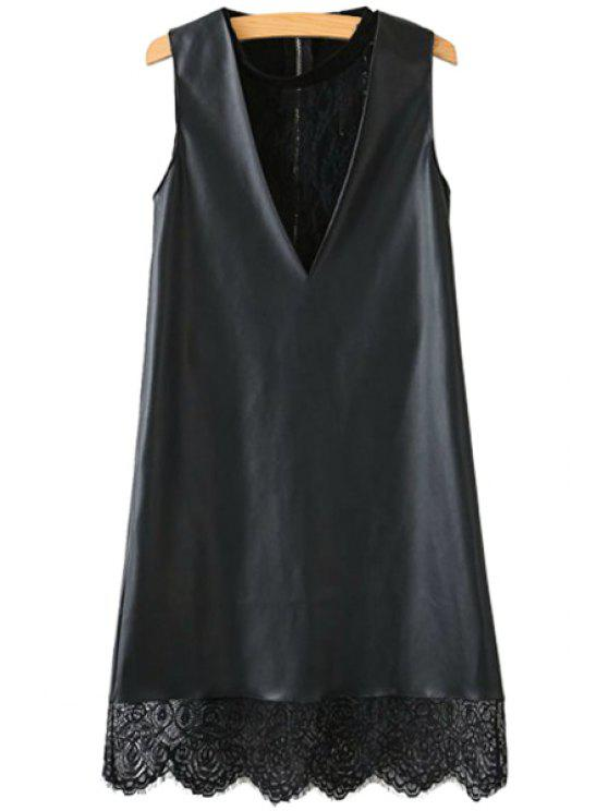 chic Lace Faux Leather Splicing Sleeveless Dress - BLACK S