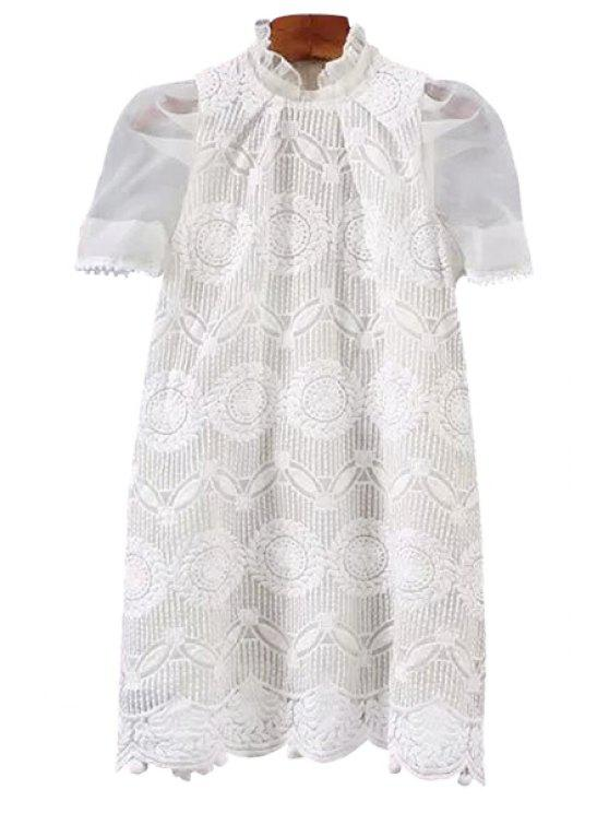 trendy Embroidery Short Sleeve Dress - WHITE XS