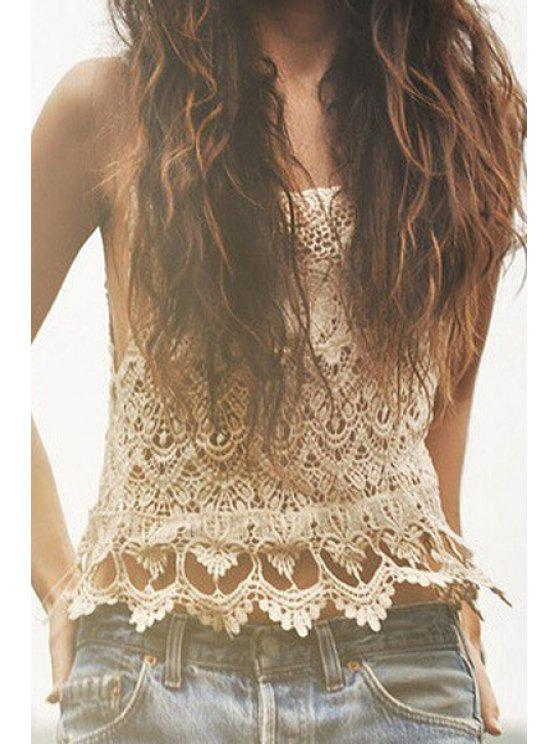 lady Openwork Hook Flower Sleeveless Tank Top - OFF-WHITE ONE SIZE(FIT SIZE XS TO M)
