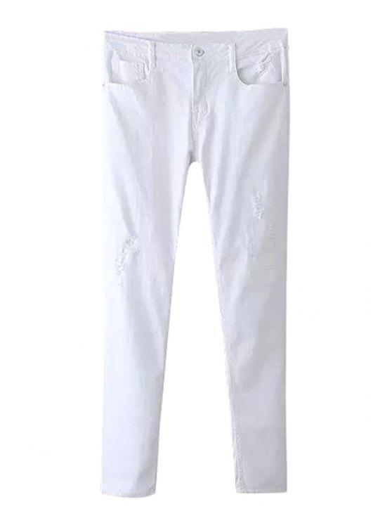 unique White Broken Hole Jeans - WHITE S