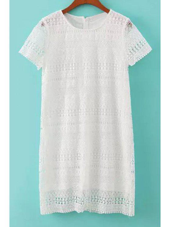 trendy Short Sleeve Lace Crochet Dress - WHITE S