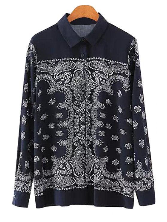 new Long Sleeves Retro Pattern Shirt - BLACK S