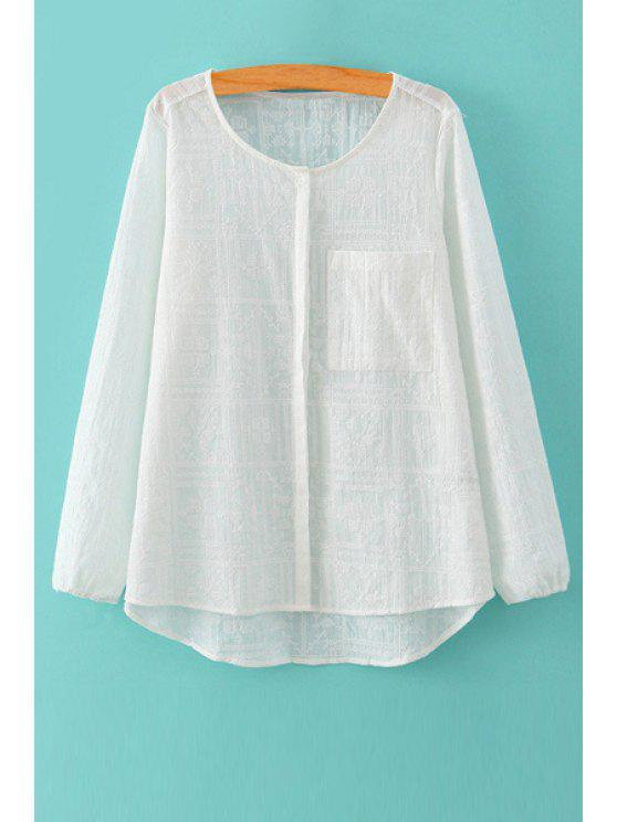 latest Solid Color Embroidery Long Sleeves Blouse - WHITE S