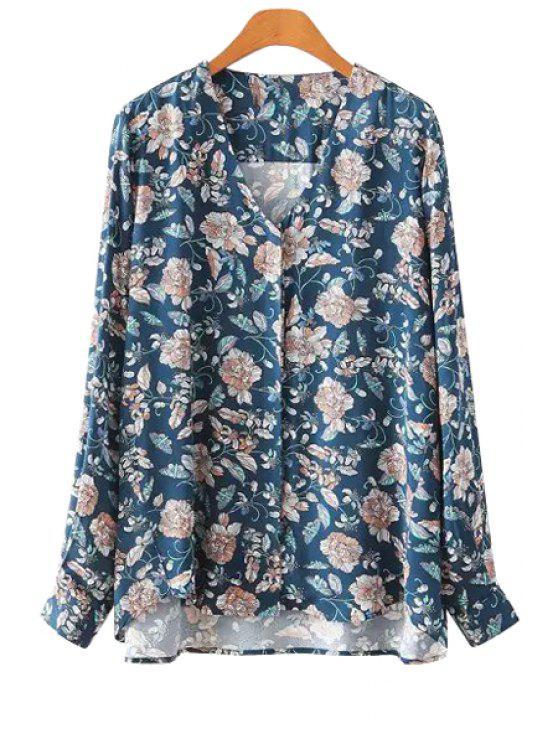 affordable Floral Blue V-Neck Blouse - BLUE S