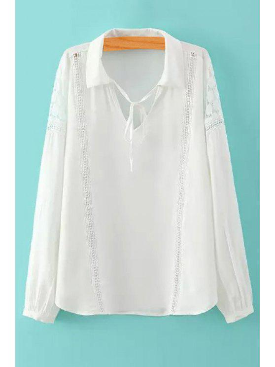 women White Long Sleeve with Lace Shirt - WHITE S