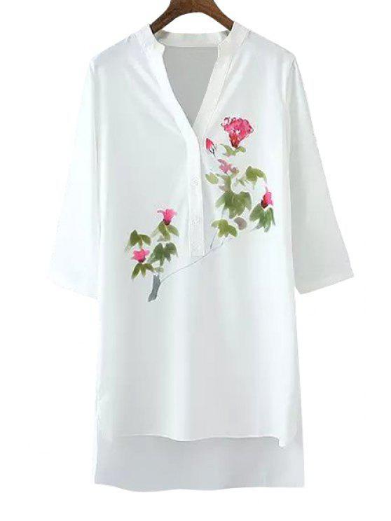 new V-Neck 3/4 Sleeve Floral Shirt - WHITE S