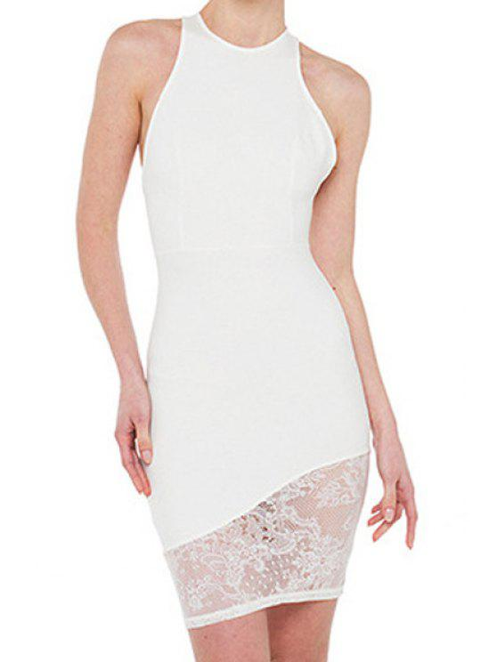 outfits Solid Color Backless Asymmetrical Lace Splicing Dress - WHITE XL