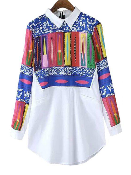 outfits Long Sleeve Print Spliced Shirt - WHITE S