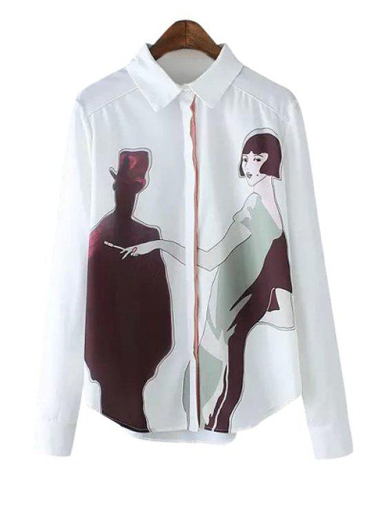 fashion Long Sleeve Figures Print Shirt - WHITE S