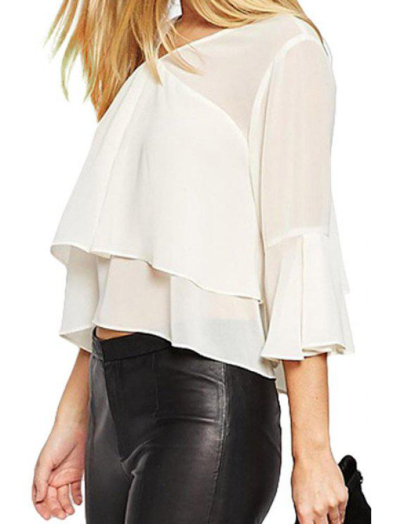 Solide Couleur Tie-Up Multi-Layered Blouse manches 3/4 - Blanc Ivoire S